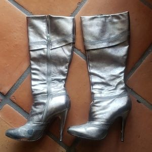 Aldo Pewter/silver to the knee boots